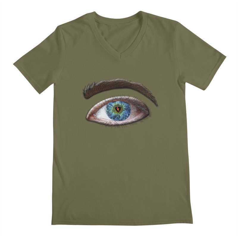 When you see the world through a broken heart Blue Green eye sadness empathy humanism love Men's Regular V-Neck by Fringe Walkers Shirts n Prints