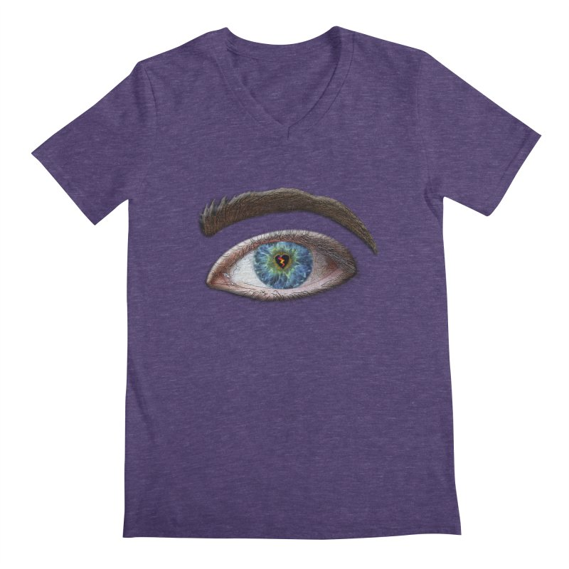 When you see the world through a broken heart Blue Green eye sadness empathy humanism love Men's V-Neck by Fringe Walkers Shirts n Prints