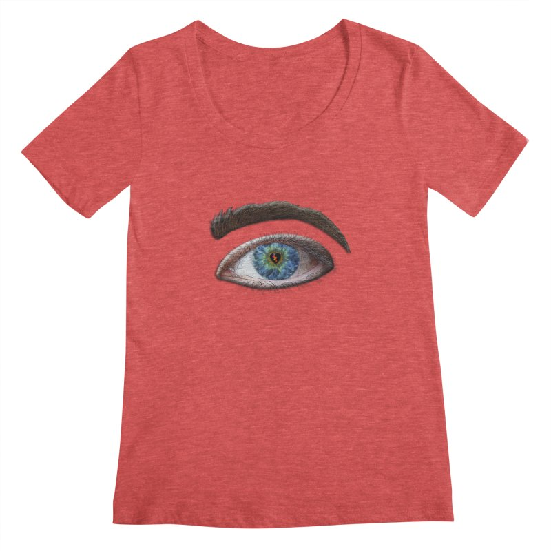 When you see the world through a broken heart Blue Green eye sadness empathy humanism love Women's Scoopneck by Fringe Walkers Shirts n Prints