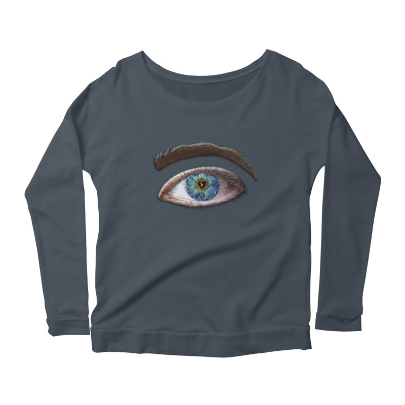 When you see the world through a broken heart Blue Green eye sadness empathy humanism love Women's Longsleeve Scoopneck  by Fringe Walkers Shirts n Prints