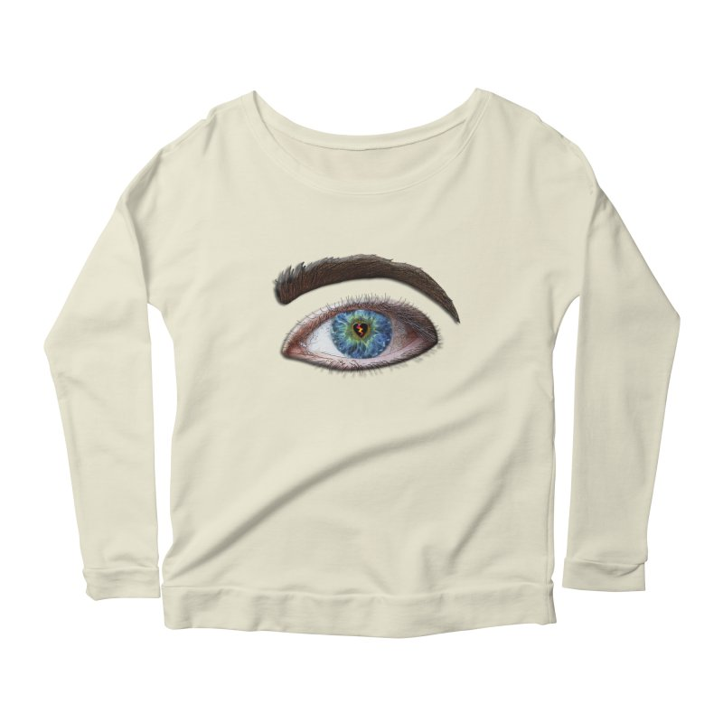 When you see the world through a broken heart Blue Green eye sadness empathy humanism love Women's Scoop Neck Longsleeve T-Shirt by Fringe Walkers Shirts n Prints
