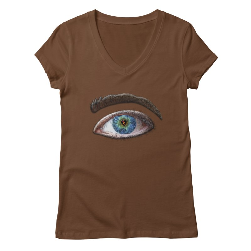 When you see the world through a broken heart Blue Green eye sadness empathy humanism love Women's Regular V-Neck by Fringe Walkers Shirts n Prints