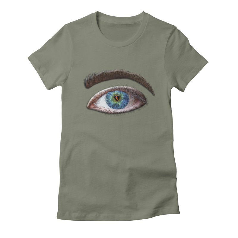 When you see the world through a broken heart Blue Green eye sadness empathy humanism love Women's Fitted T-Shirt by Fringe Walkers Shirts n Prints