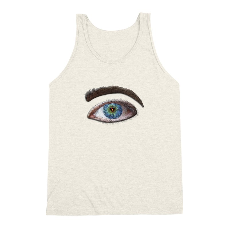 When you see the world through a broken heart Blue Green eye sadness empathy humanism love Men's Triblend Tank by Fringe Walkers Shirts n Prints
