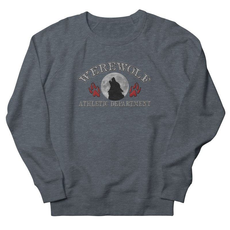 Werewolf Athletic Department Full Moon Howling Wolf Crew Animagus Shape Shifter Moonlight Men's French Terry Sweatshirt by Fringe Walkers Shirts n Prints