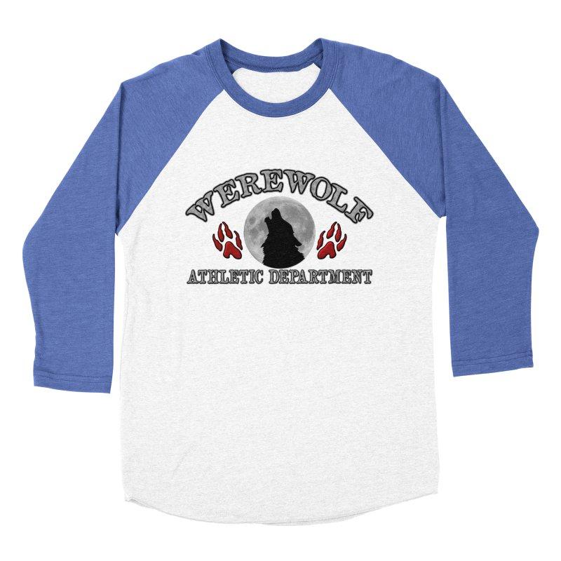 Werewolf Athletic Department Full Moon Howling Wolf Crew Animagus Shape Shifter Moonlight Women's Baseball Triblend Longsleeve T-Shirt by Fringe Walkers Shirts n Prints