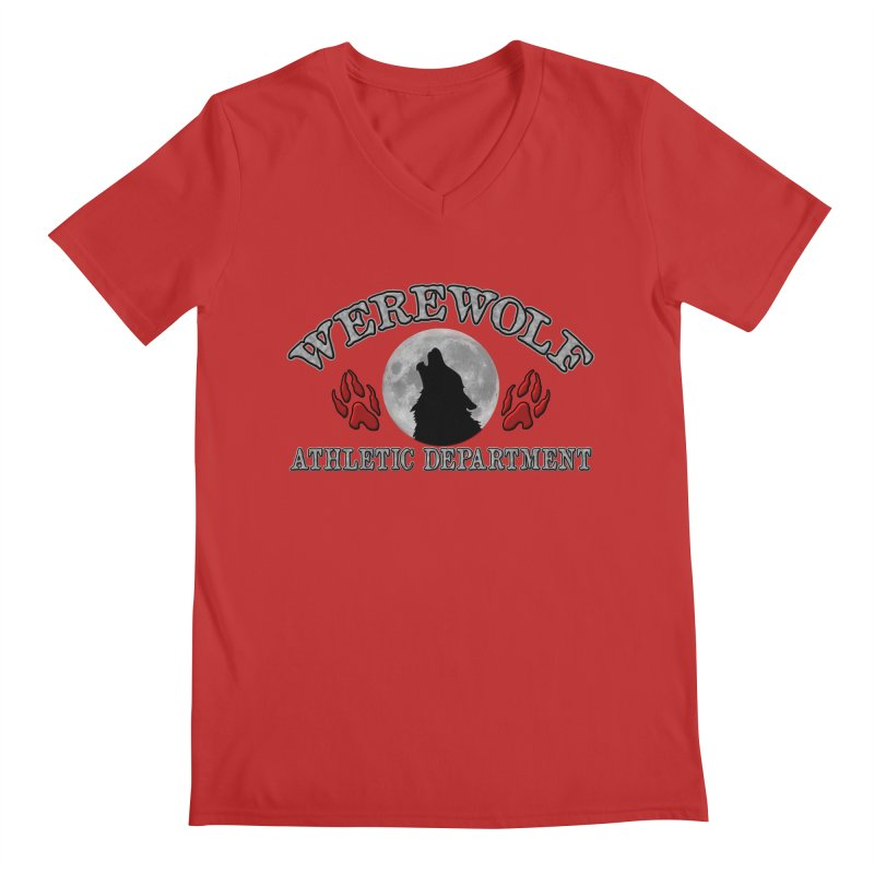 Werewolf Athletic Department Full Moon Howling Wolf Crew Animagus Shape Shifter Moonlight Men's Regular V-Neck by Fringe Walkers Shirts n Prints