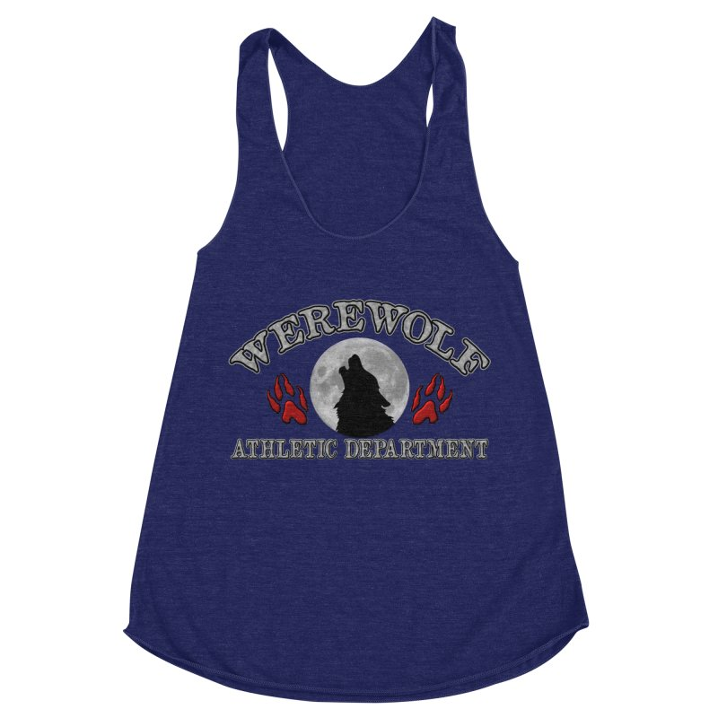 Werewolf Athletic Department Full Moon Howling Wolf Crew Animagus Shape Shifter Moonlight Women's Racerback Triblend Tank by Fringe Walkers Shirts n Prints