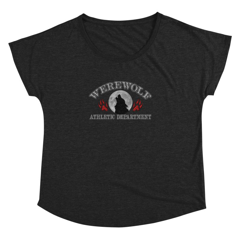 Werewolf Athletic Department Full Moon Howling Wolf Crew Animagus Shape Shifter Moonlight Women's Dolman Scoop Neck by Fringe Walkers Shirts n Prints