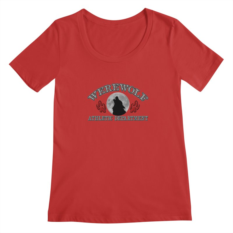 Werewolf Athletic Department Full Moon Howling Wolf Crew Animagus Shape Shifter Moonlight Women's Regular Scoop Neck by Fringe Walkers Shirts n Prints