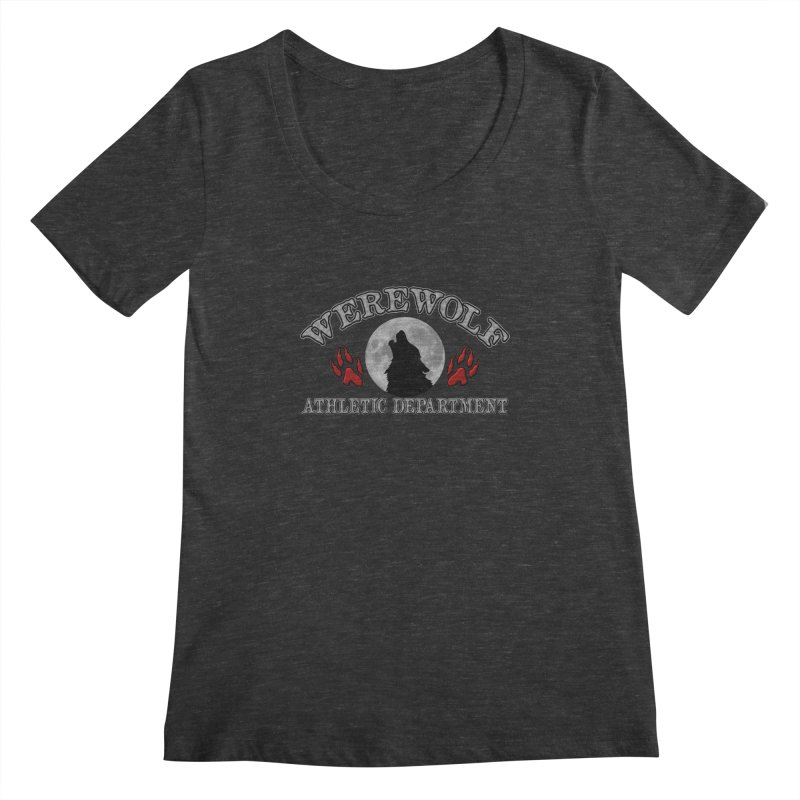 Werewolf Athletic Department Full Moon Howling Wolf Crew Animagus Shape Shifter Moonlight Women's Scoopneck by Fringe Walkers Shirts n Prints