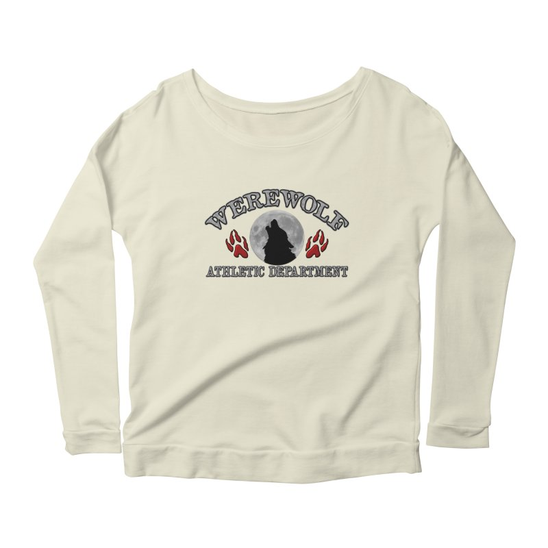 Werewolf Athletic Department Full Moon Howling Wolf Crew Animagus Shape Shifter Moonlight Women's Scoop Neck Longsleeve T-Shirt by Fringe Walkers Shirts n Prints
