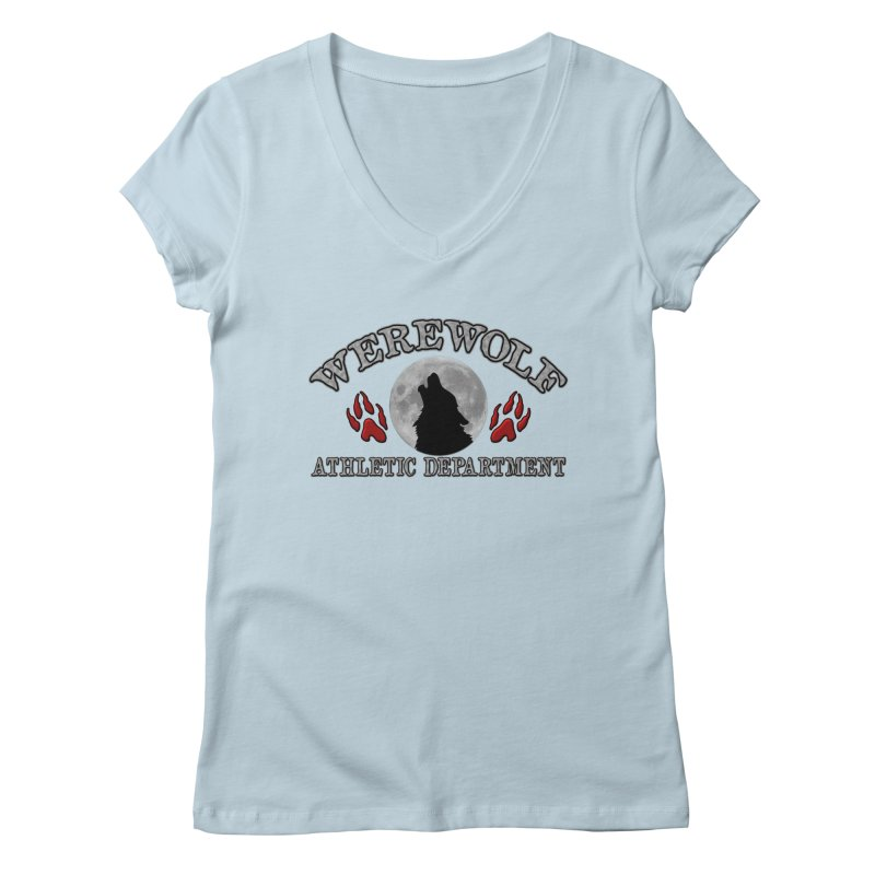 Werewolf Athletic Department Full Moon Howling Wolf Crew Animagus Shape Shifter Moonlight Women's Regular V-Neck by Fringe Walkers Shirts n Prints