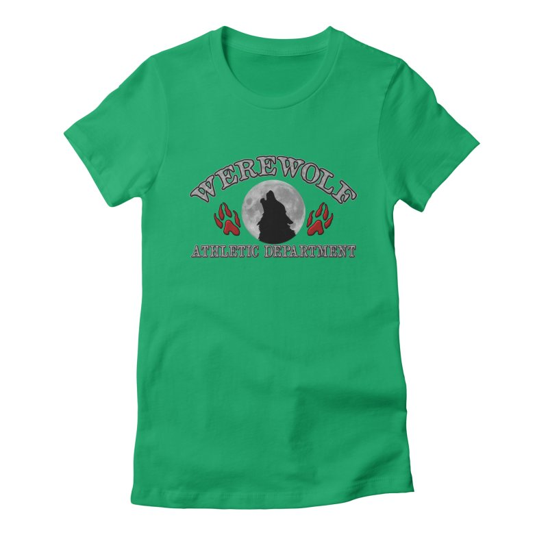 Werewolf Athletic Department Full Moon Howling Wolf Crew Animagus Shape Shifter Moonlight Women's Fitted T-Shirt by Fringe Walkers Shirts n Prints