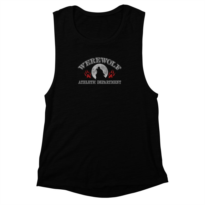 Werewolf Athletic Department Full Moon Howling Wolf Crew Animagus Shape Shifter Moonlight Women's Muscle Tank by Fringe Walkers Shirts n Prints