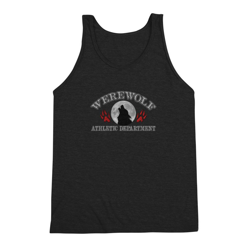 Werewolf Athletic Department Full Moon Howling Wolf Crew Animagus Shape Shifter Moonlight Men's Triblend Tank by Fringe Walkers Shirts n Prints