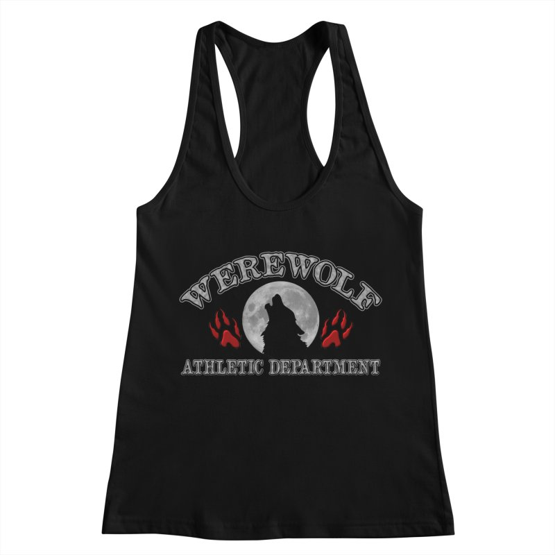 Werewolf Athletic Department Full Moon Howling Wolf Crew Animagus Shape Shifter Moonlight Women's Racerback Tank by Fringe Walkers Shirts n Prints