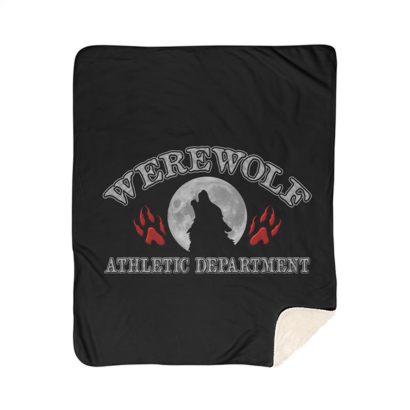 Werewolf Athletic Department Full Moon Howling Wolf Crew Animagus Shape Shifter Moonlight Home Sherpa Blanket Blanket by Fringe Walkers Shirts n Prints