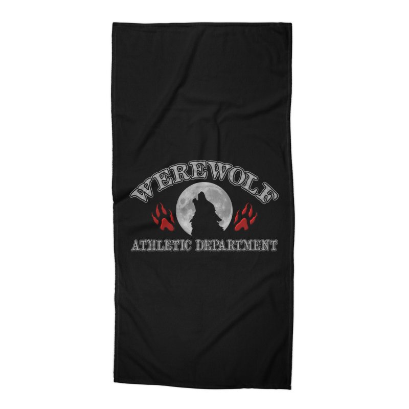 Werewolf Athletic Department Full Moon Howling Wolf Crew Animagus Shape Shifter Moonlight Accessories Beach Towel by Fringe Walkers Shirts n Prints