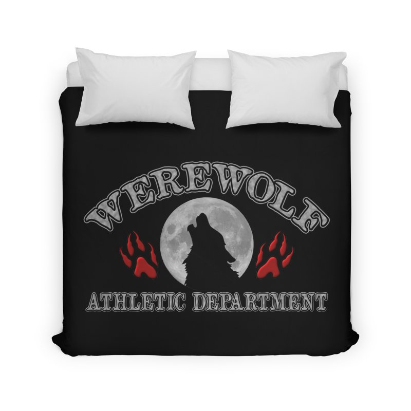 Werewolf Athletic Department Full Moon Howling Wolf Crew Animagus Shape Shifter Moonlight Home Duvet by Fringe Walkers Shirts n Prints