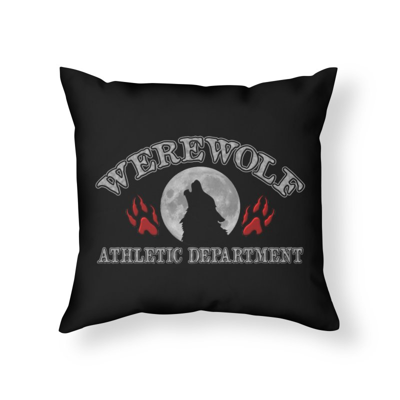 Werewolf Athletic Department Full Moon Howling Wolf Crew Animagus Shape Shifter Moonlight Home Throw Pillow by Fringe Walkers Shirts n Prints