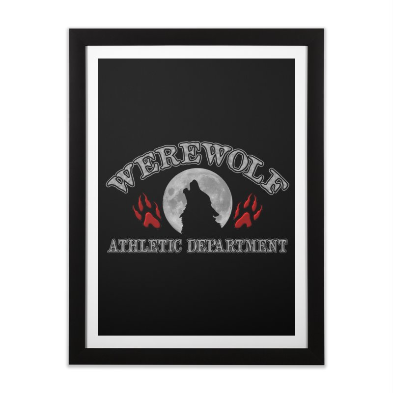 Werewolf Athletic Department Full Moon Howling Wolf Crew Animagus Shape Shifter Moonlight Home Framed Fine Art Print by Fringe Walkers Shirts n Prints