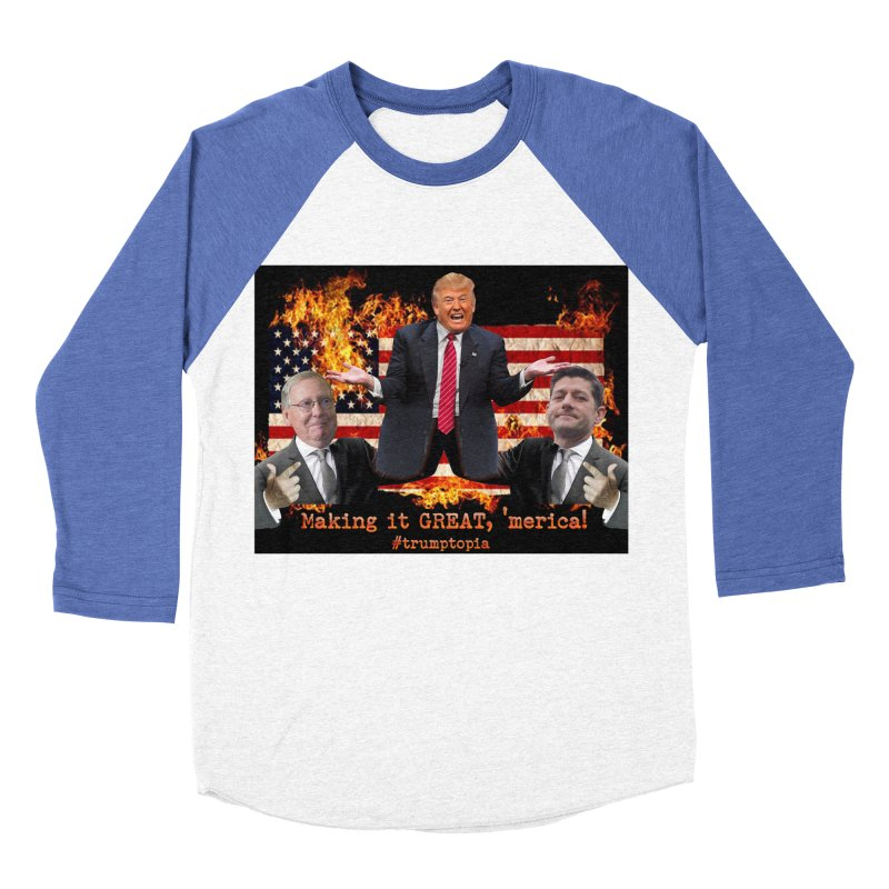 Trumptopia Women's Baseball Triblend Longsleeve T-Shirt by Fringe Walkers Shirts n Prints