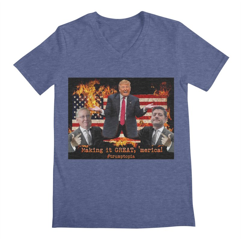 Trumptopia Men's Regular V-Neck by Fringe Walkers Shirts n Prints