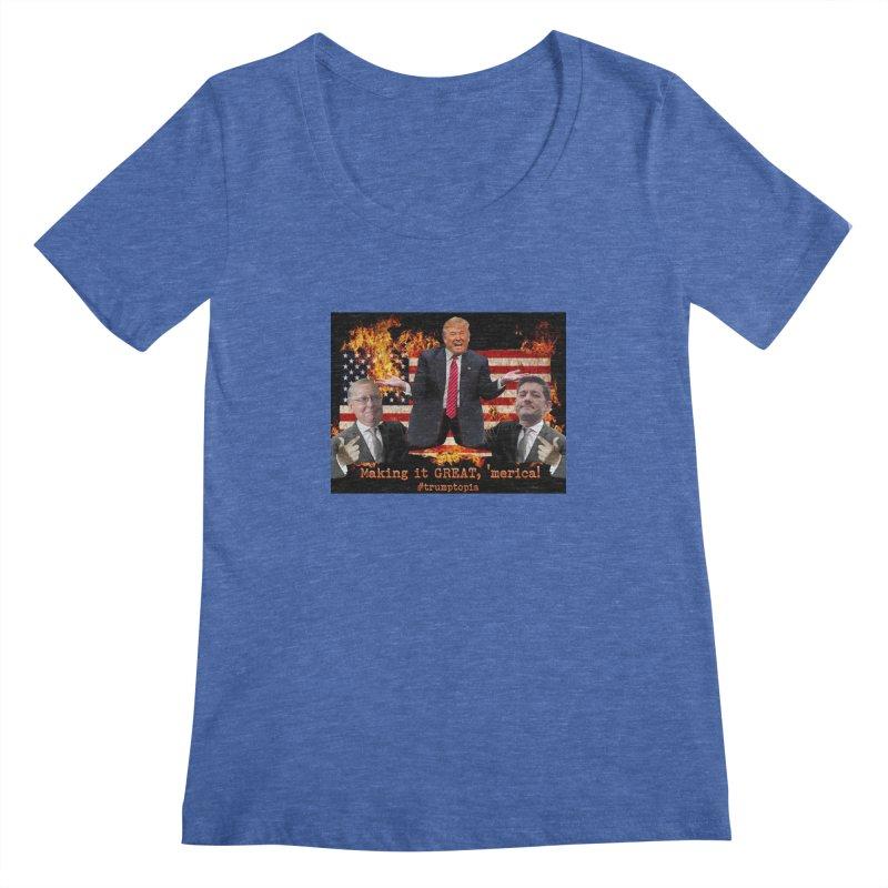 Trumptopia Women's Regular Scoop Neck by Fringe Walkers Shirts n Prints