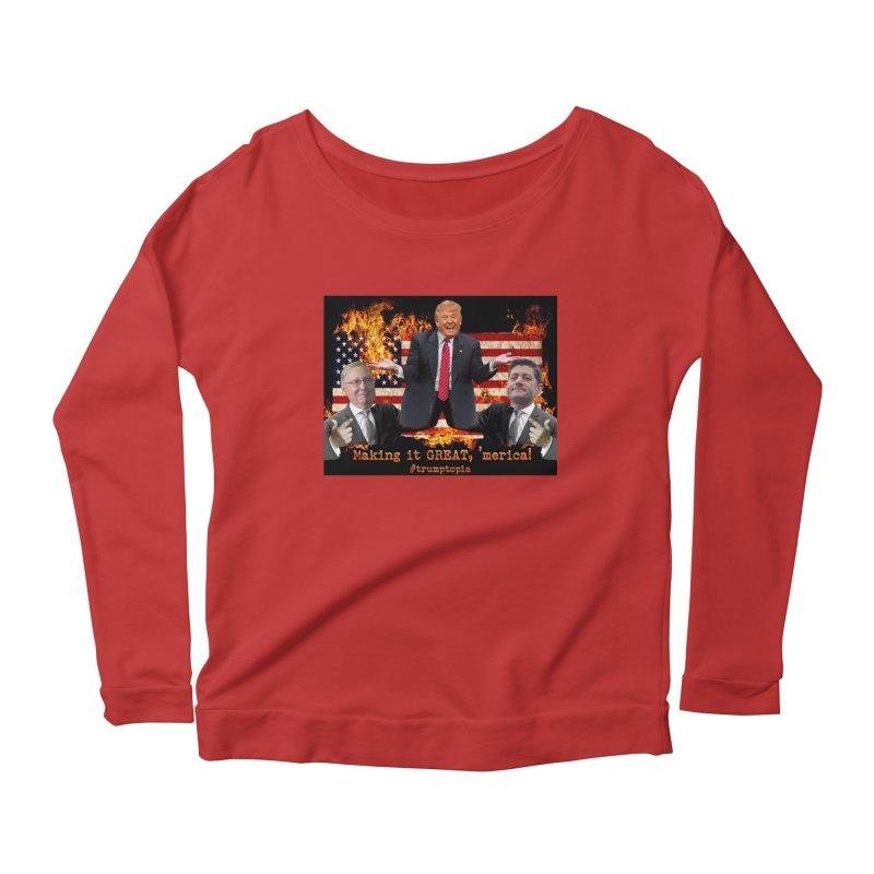Trumptopia Women's Longsleeve Scoopneck  by Fringe Walkers Shirts n Prints