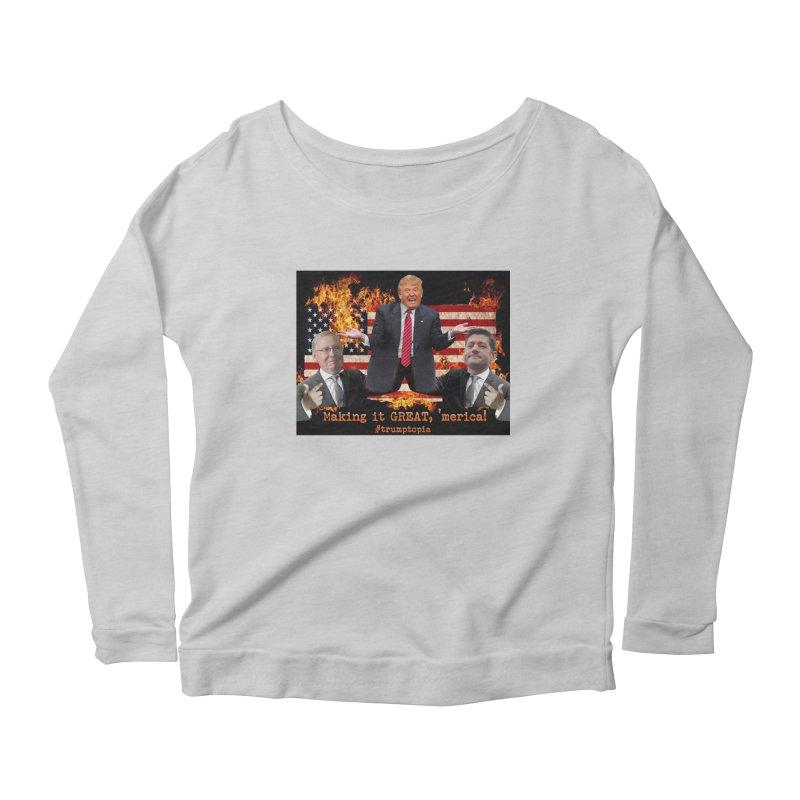Trumptopia Women's Scoop Neck Longsleeve T-Shirt by Fringe Walkers Shirts n Prints