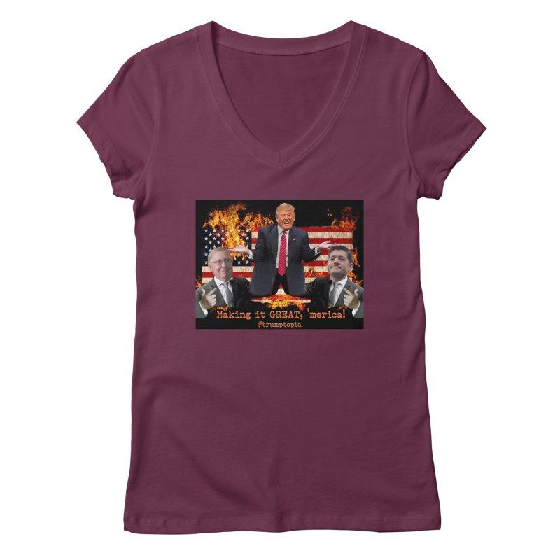 Trumptopia Women's V-Neck by Fringe Walkers Shirts n Prints