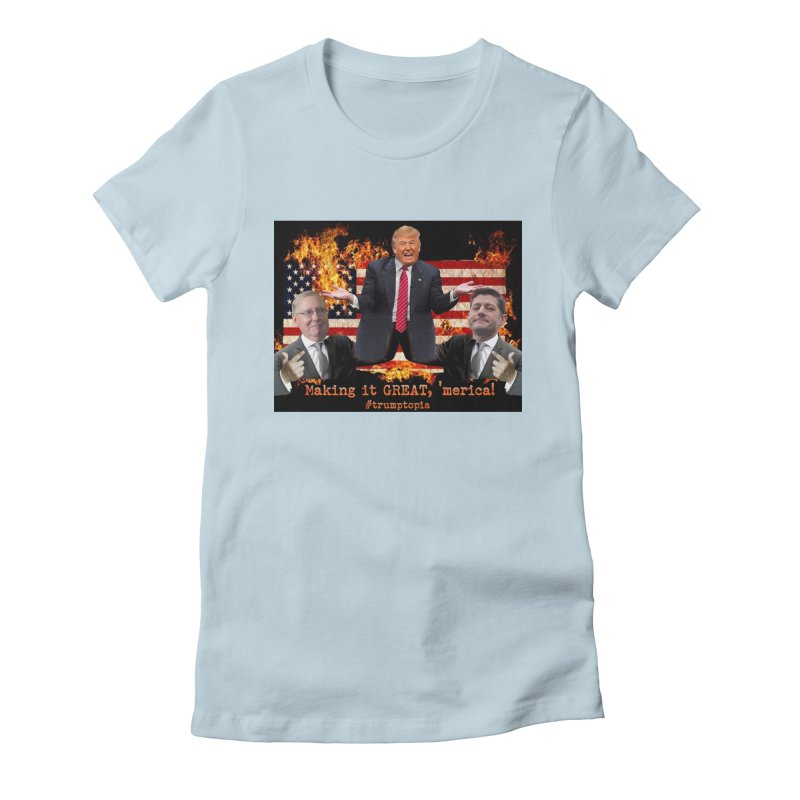 Trumptopia Women's Fitted T-Shirt by Fringe Walkers Shirts n Prints