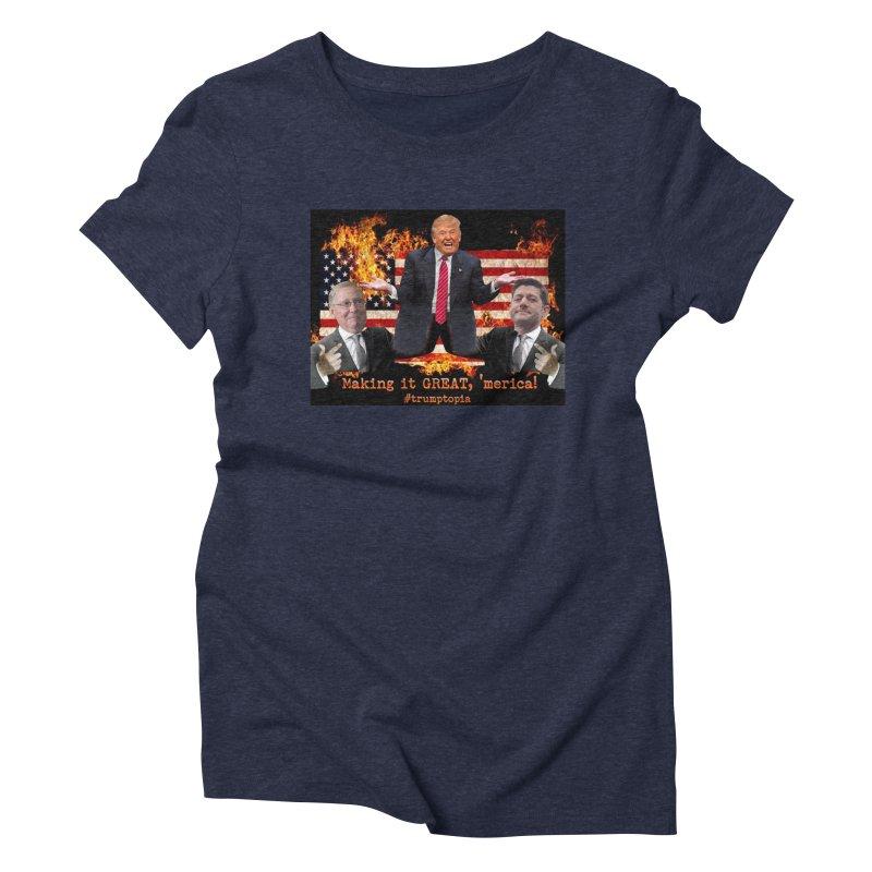Trumptopia Women's Triblend T-Shirt by Fringe Walkers Shirts n Prints