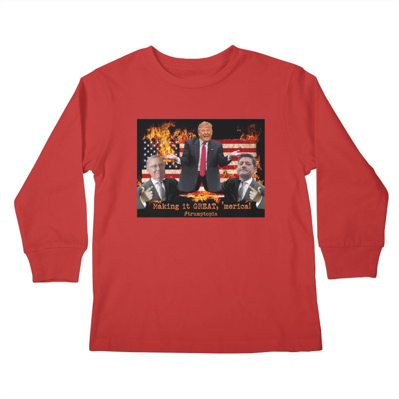 Trumptopia Kids Longsleeve T-Shirt by Fringe Walkers Shirts n Prints