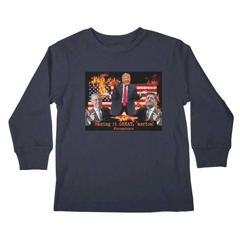 Trumptopia Kids Longsleeve T-Shirt by Fringe Walkers Shirts n Prints