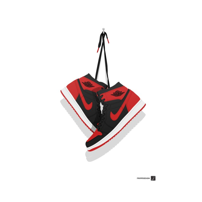 "Air Jordan 1 ""Banned"" Hanging Kicks Illustration Home Fine Art Print by frippdesign's Artist Shop"
