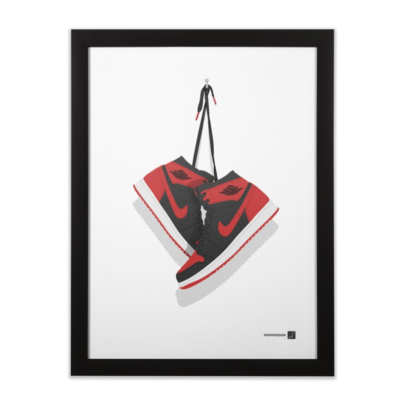 "Air Jordan 1 ""Banned"" Hanging Kicks Illustration Home Framed Fine Art Print by frippdesign's Artist Shop"