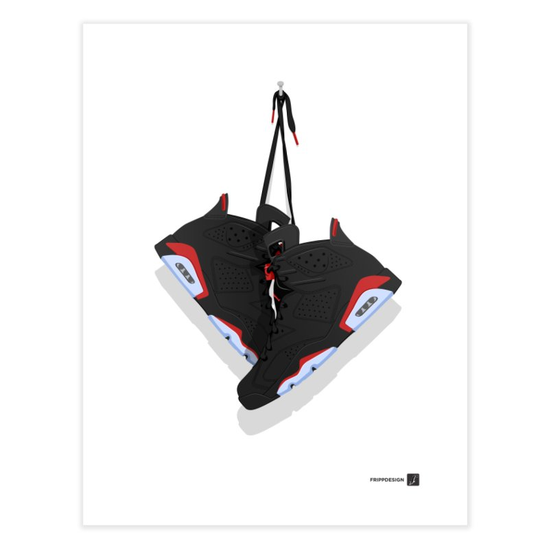 Air Jordan 6 Hanging Kicks Illustration Home Fine Art Print by frippdesign's Artist Shop