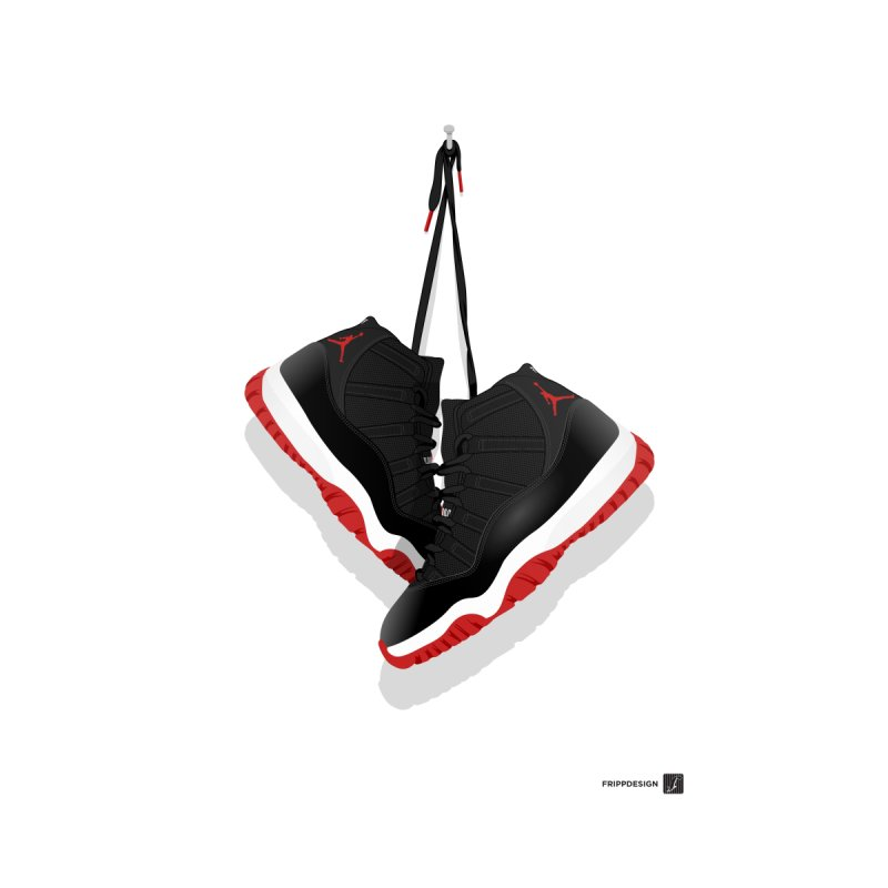 "Air Jordan 11 ""Bred"" Hanging Kicks Illustration by frippdesign's Artist Shop"