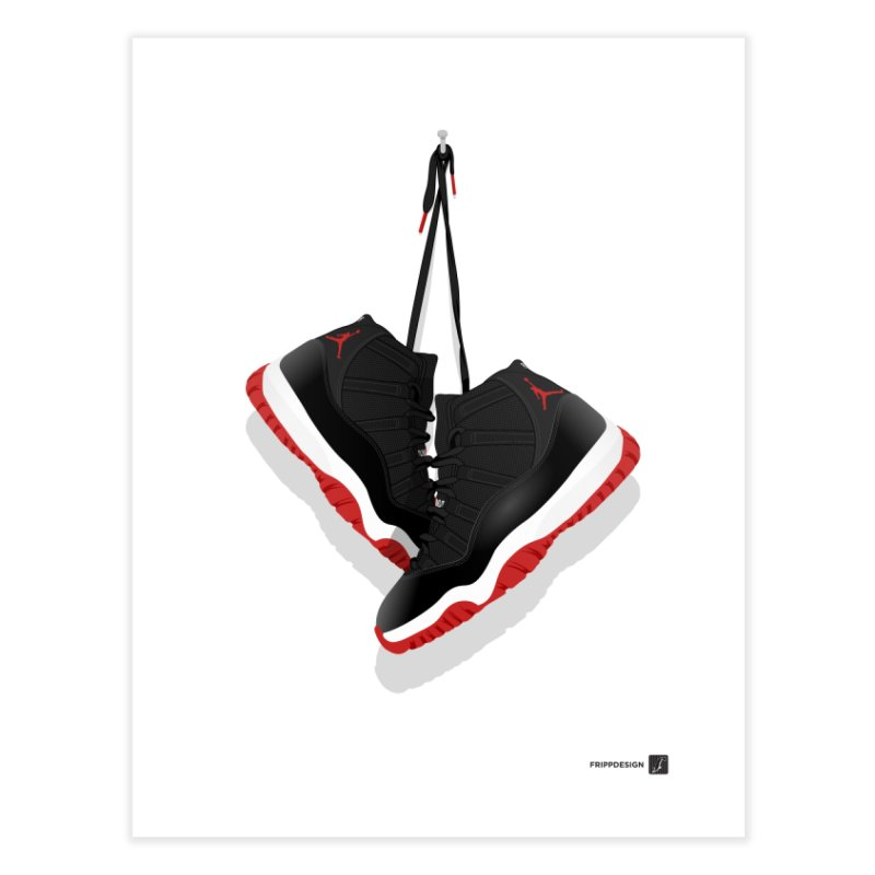 "Air Jordan 11 ""Bred"" Hanging Kicks Illustration Home Fine Art Print by frippdesign's Artist Shop"