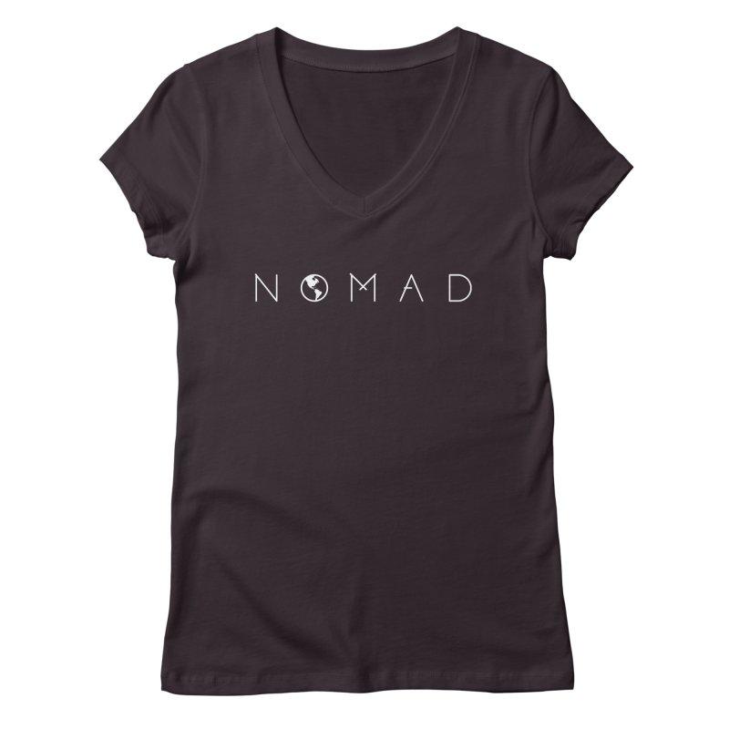 Nomad World Travel: Adventure, Wanderlust, Explorer Women's V-Neck by frippdesign's Artist Shop