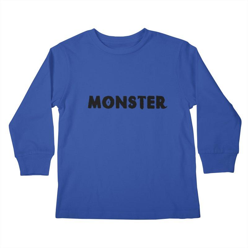 Little Monster Playful Type Kids apparel Kids Longsleeve T-Shirt by frippdesign's Artist Shop