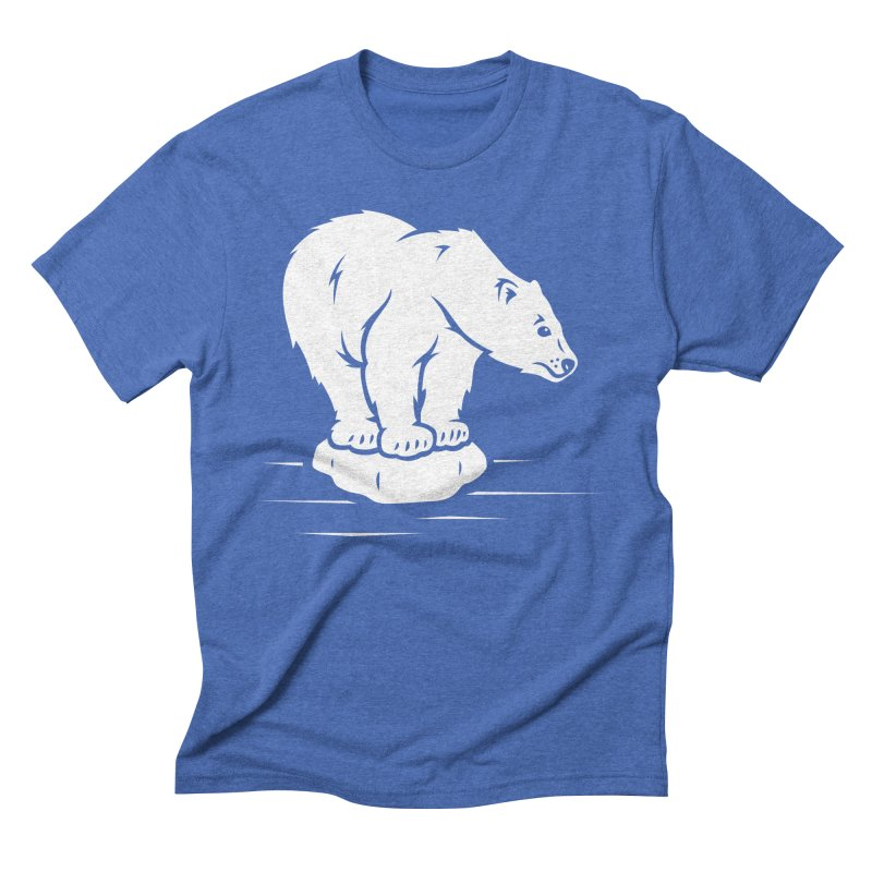 Save the Polar Bears, Isolated Polar Bear on Slab of Ice Men's Triblend T-Shirt by frippdesign's Artist Shop