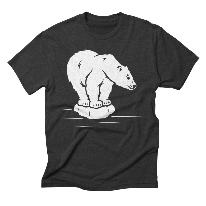 Save the Polar Bears, Isolated Polar Bear on Slab of Ice Men's Triblend T-Shirt by frippdesign's Artist Shop
