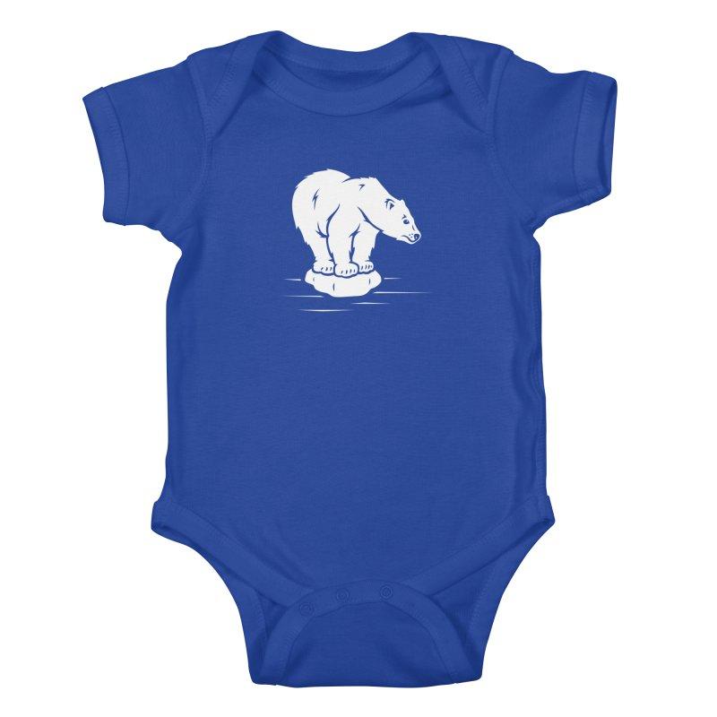 Save the Polar Bears, Isolated Polar Bear on Slab of Ice Kids Baby Bodysuit by frippdesign's Artist Shop