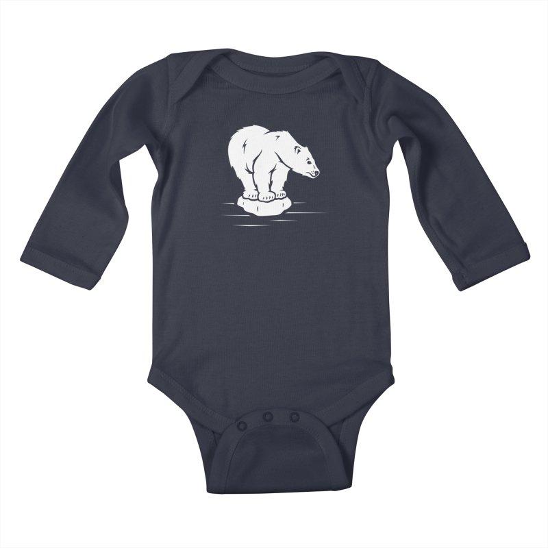 Save the Polar Bears, Isolated Polar Bear on Slab of Ice Kids Baby Longsleeve Bodysuit by frippdesign's Artist Shop