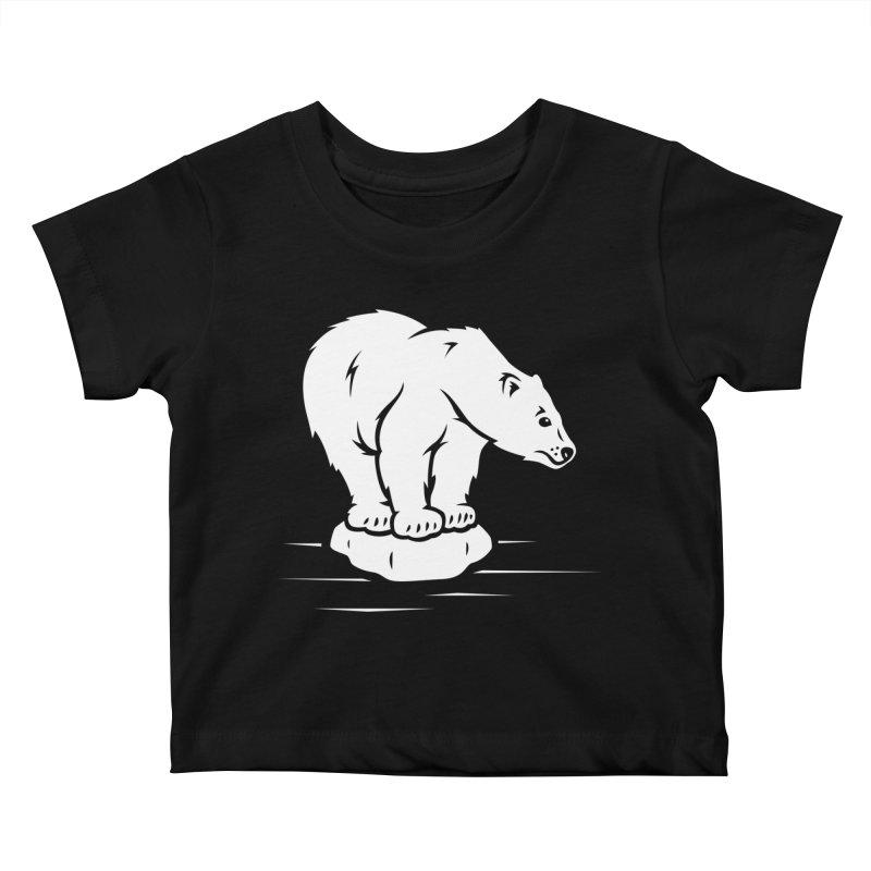 Save the Polar Bears, Isolated Polar Bear on Slab of Ice Kids Baby T-Shirt by frippdesign's Artist Shop