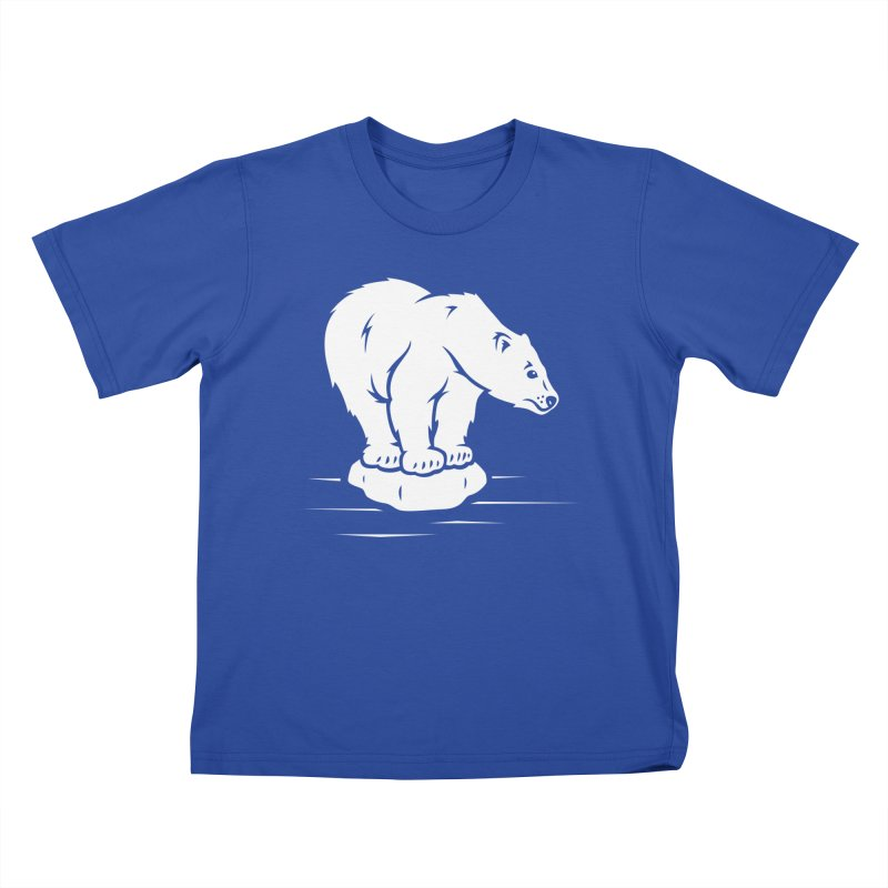 Save the Polar Bears, Isolated Polar Bear on Slab of Ice Kids T-Shirt by frippdesign's Artist Shop