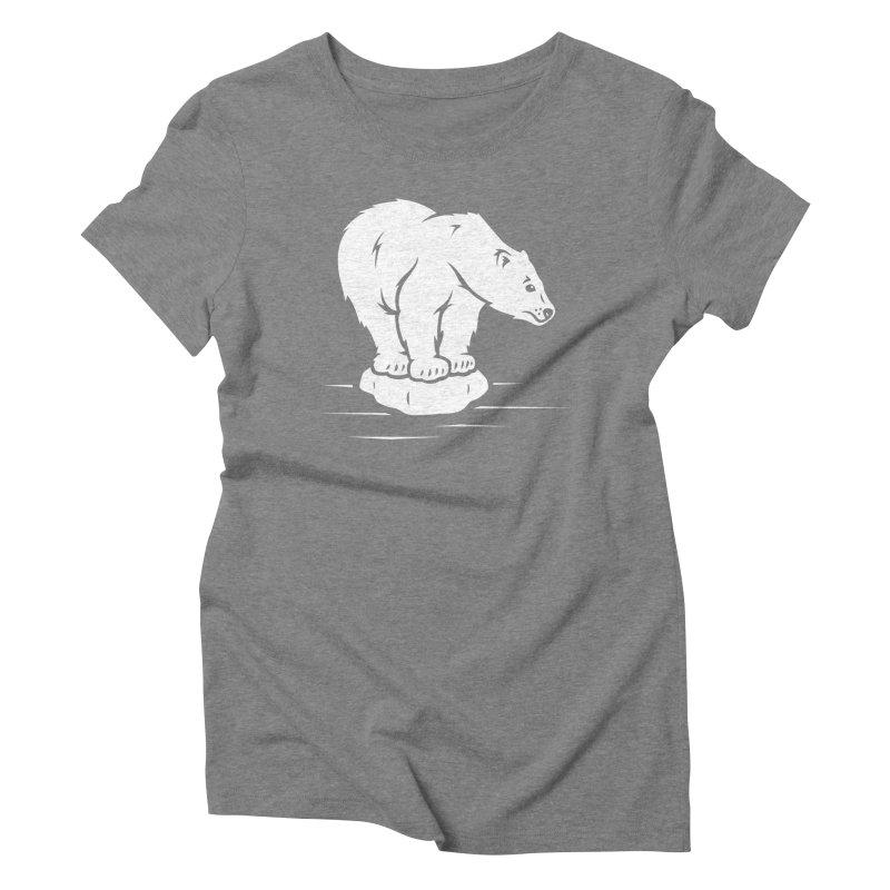 Save the Polar Bears, Isolated Polar Bear on Slab of Ice Women's Triblend T-Shirt by frippdesign's Artist Shop